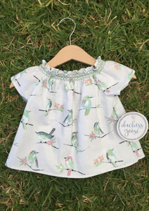 Short Sleeve Smock Top - Hummingbirds