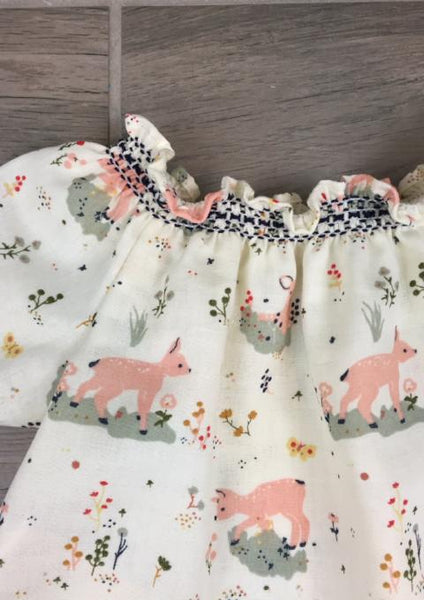 Short Sleeve Smock Top - Little Deer