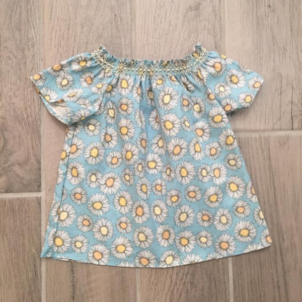 Short Sleeve Smock Top - Blue Daisey