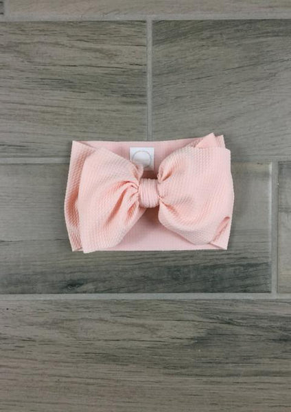 designer head wrap and bow in color blush