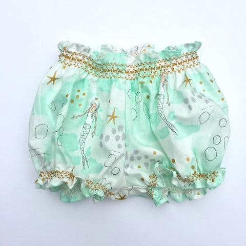 Smocked Girls Bubble Short - Mermaid