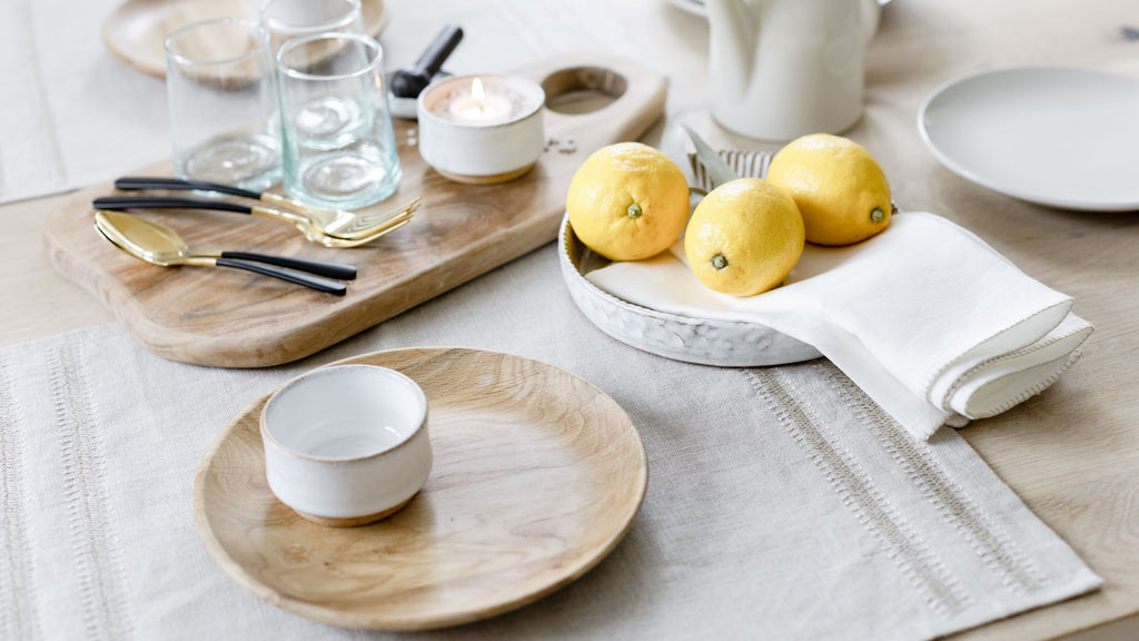 Linen placemat and napkins from Artha Collections