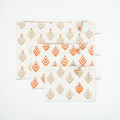 Block Printed and Embroidered Pouch
