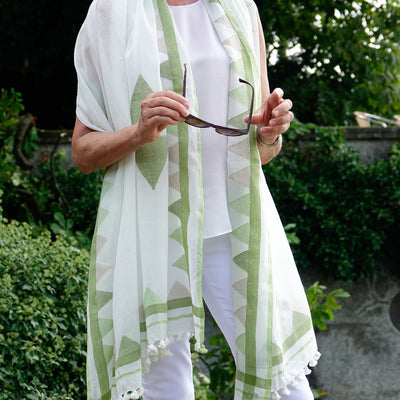Jamdani Green Shawl by Artha Collections