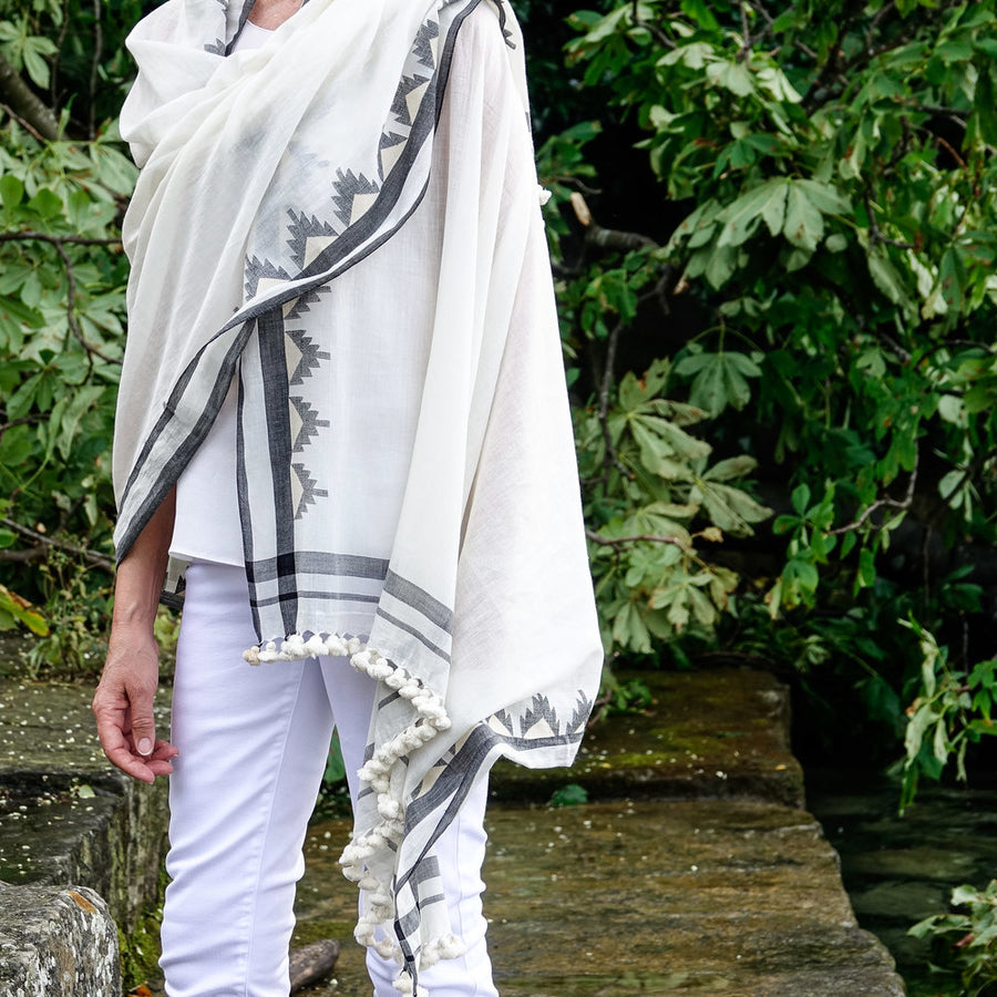 Cream and Beige with Black Accents - Cotton Shawl by Artha Collections