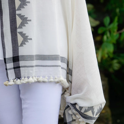 Black and Cream Cotton Scarf by Artha Collections
