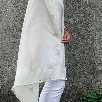 Handwoven Cotton Shawl Wrap in White with Gold Accent by Artha Collections