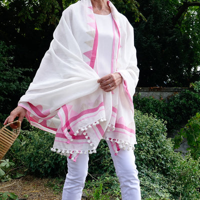 Pink Cotton Shawl Wrap - Artha Collections
