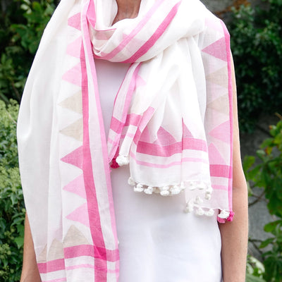 Handwoven Pink and White Cotton Scarf - Artha Collections