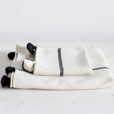 Handwoven Cotton Hand Towel - Black Stripe