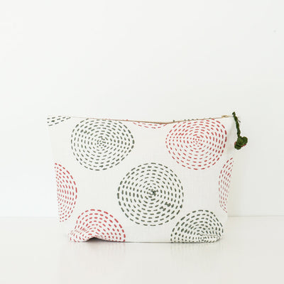 Block Printed Pouch for Travel by Artha Collections
