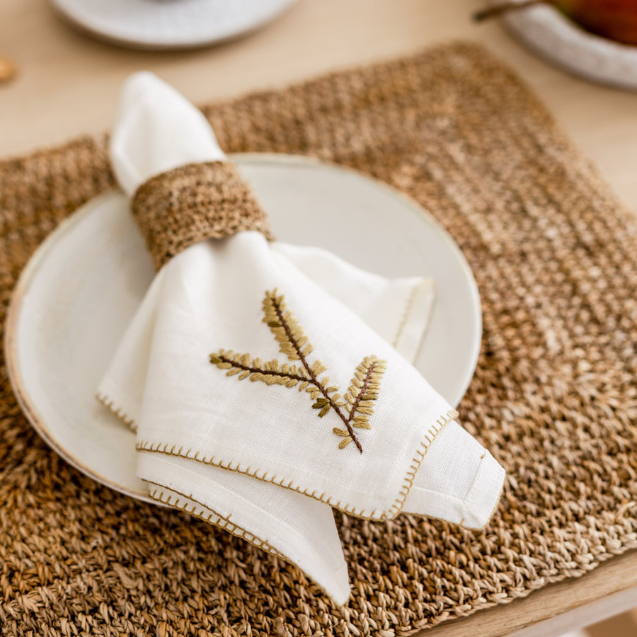 Evergreen Napkin Set- Cream