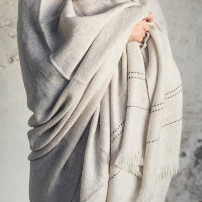 Modern Hand Woven Woolen Throw Blanket by Artha Collections
