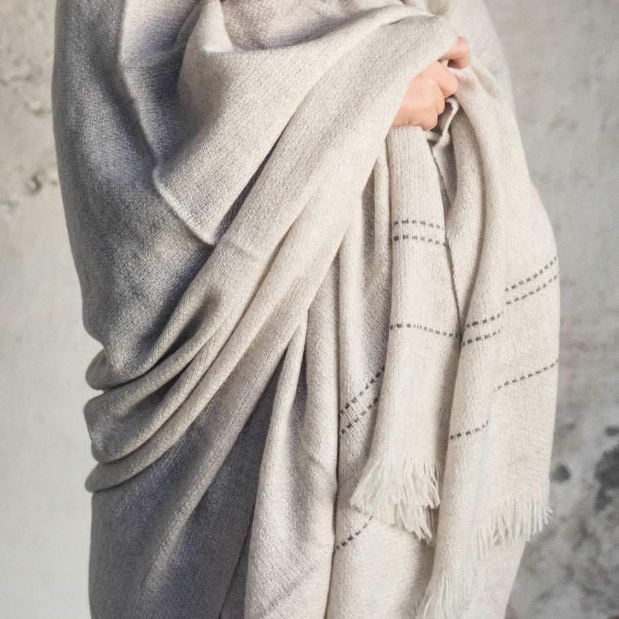 Khullu Handwoven Throw Blanket with Grey Stripes by Artha Collections