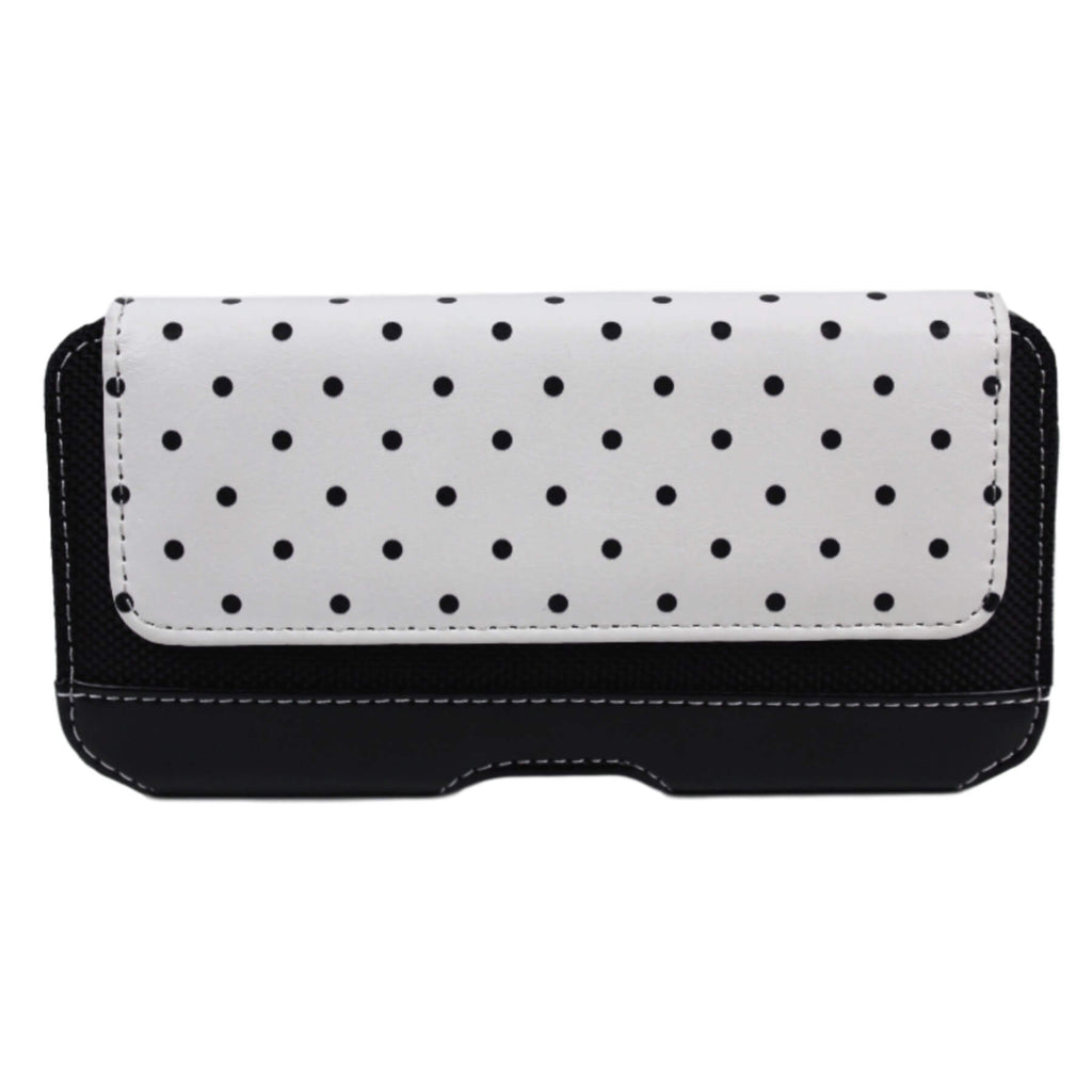 Black Polka Leather iPhone Holster