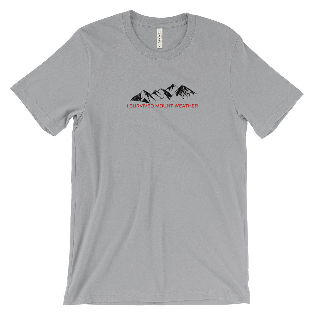 I Survived Mount Weather Black Mountains Red Text Graphic Tee Silver