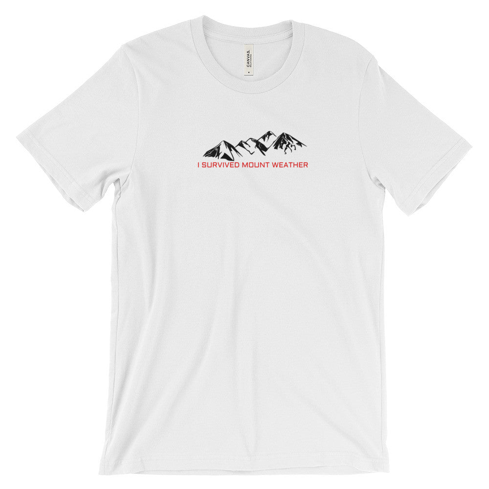 I Survived Mount Weather Black Mountains Red Text Graphic Tee White
