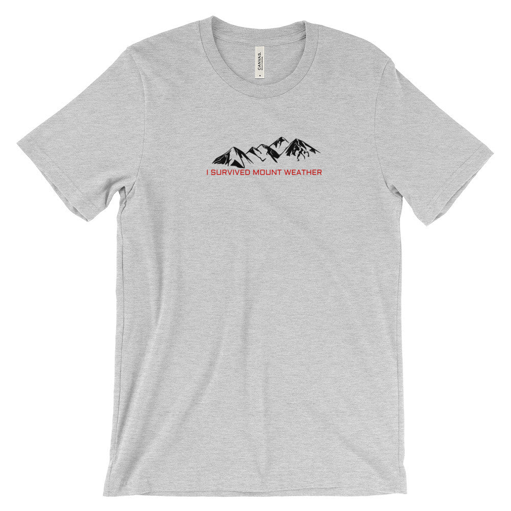 I Survived Mount Weather Black Mountains Red Text Graphic Tee Gray
