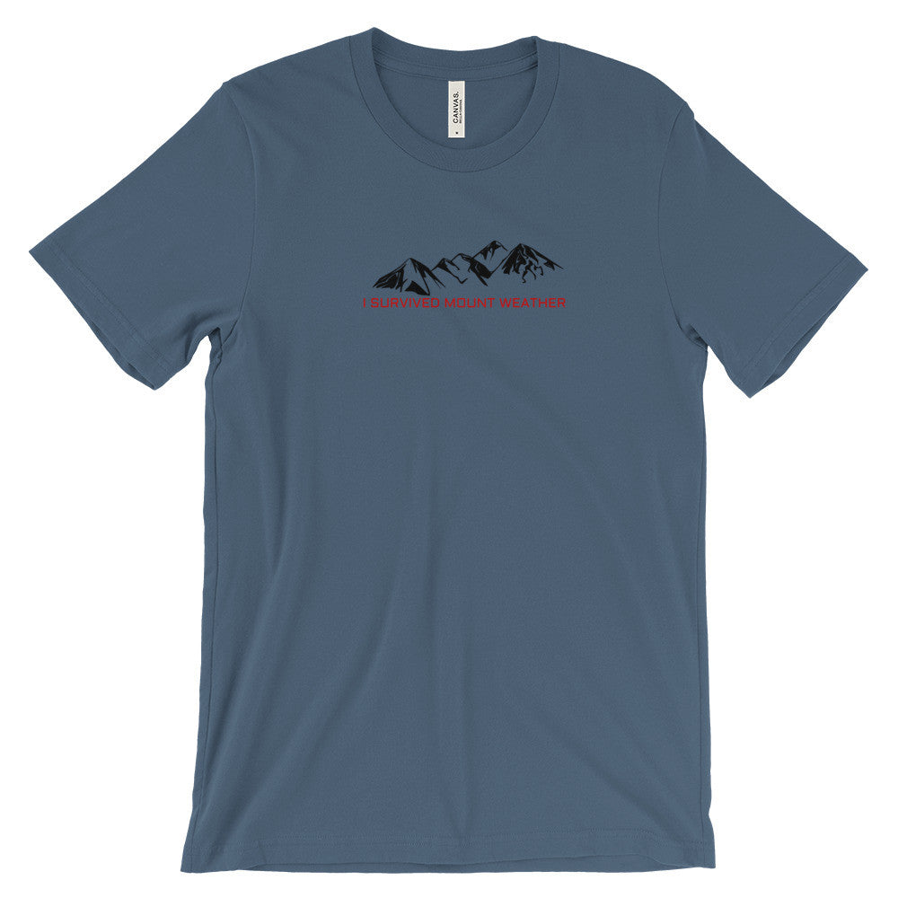 I Survived Mount Weather Black Mountains Red Text Graphic Tee Blue