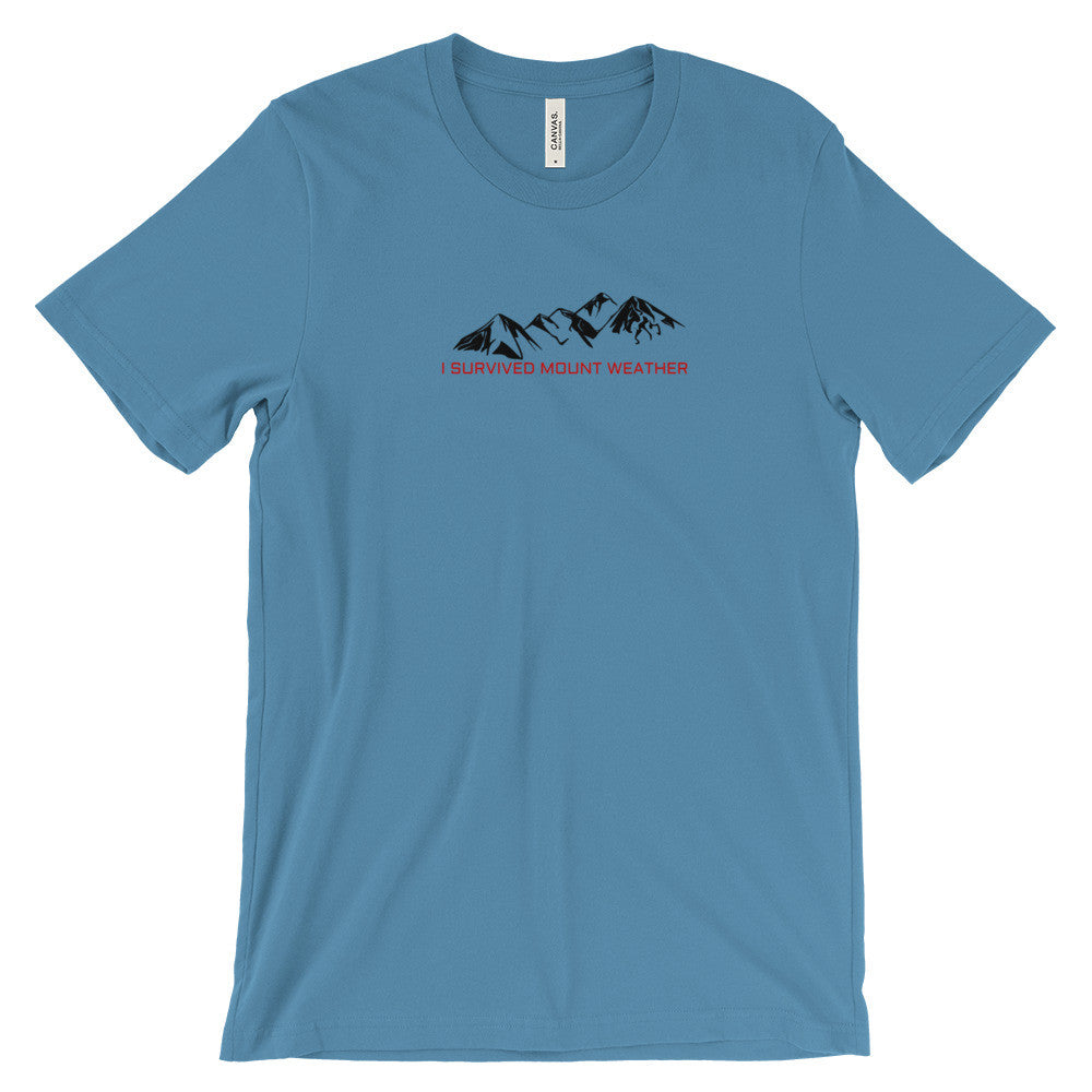 I Survived Mount Weather Black Mountains Red Text Graphic Tee Light Blue