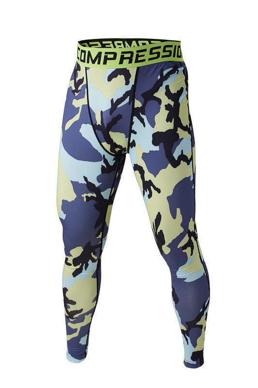 Men's Compression Pants Blue And Yellow Camo