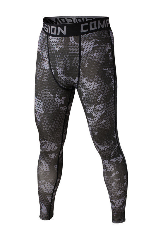 Men's Compression Pants Gray Camo