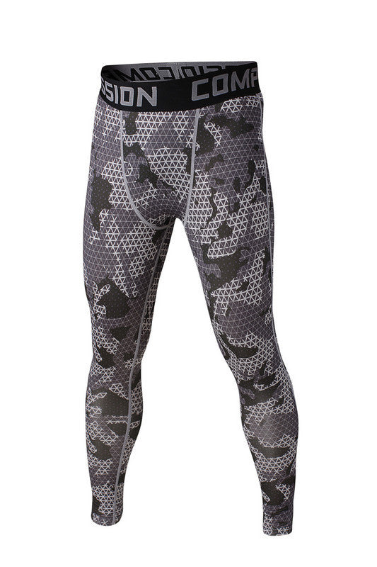 Men's Compression Pants Gray Patterned