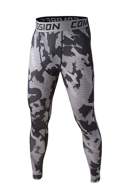 Men's Compression Pants Gray White Camo