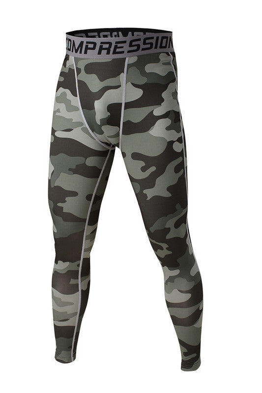 Men's Compression Pants Green Camo