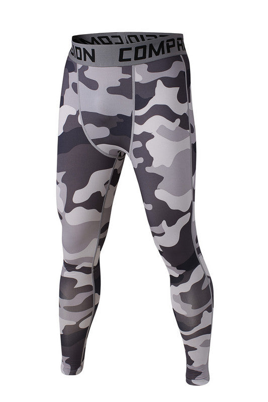 Men's Compression Pants White Black Camo