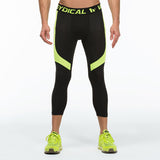 Men's 3/4 Compression Pants Black And Yellow