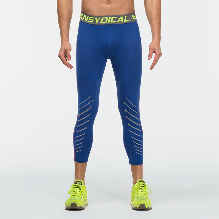 Men's 3/4 Compression Pants Royal Blue And Yellow