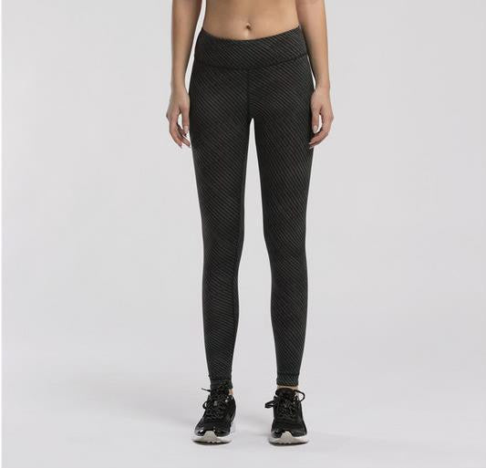 Women's Compression Pants Black Pinstripe