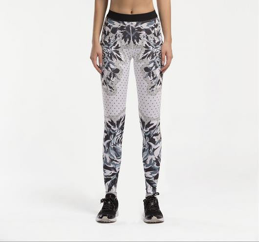 Women's Compression Pants White With Black Pattern