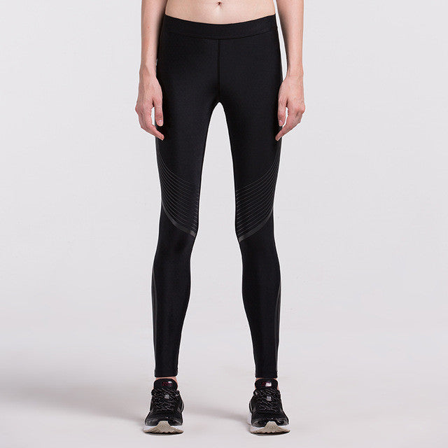 Women's Compression Pants Black Stripes