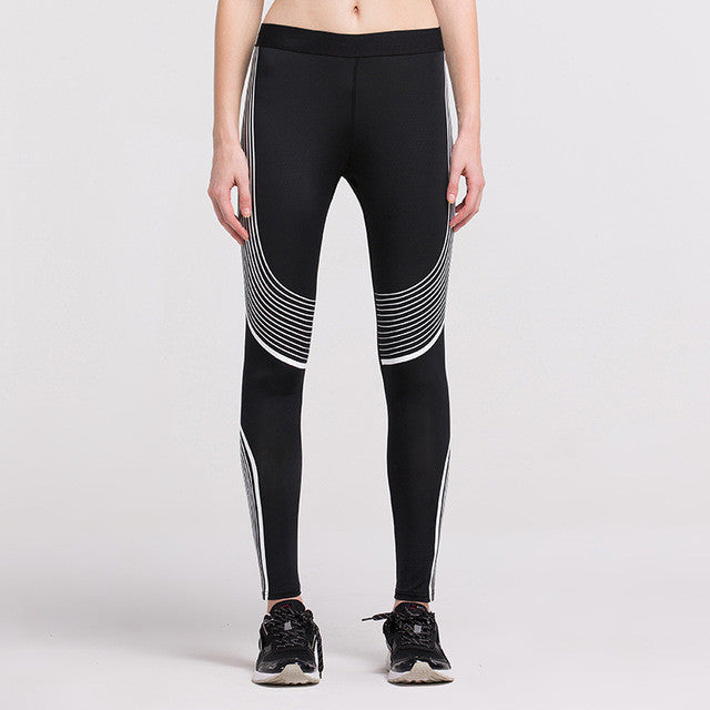 Women's Compression Pants White Stripes