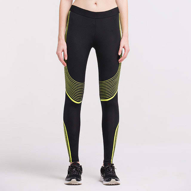 Women's Compression Pants Yellow Stripes