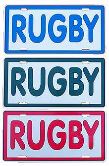 Rugby License Plates