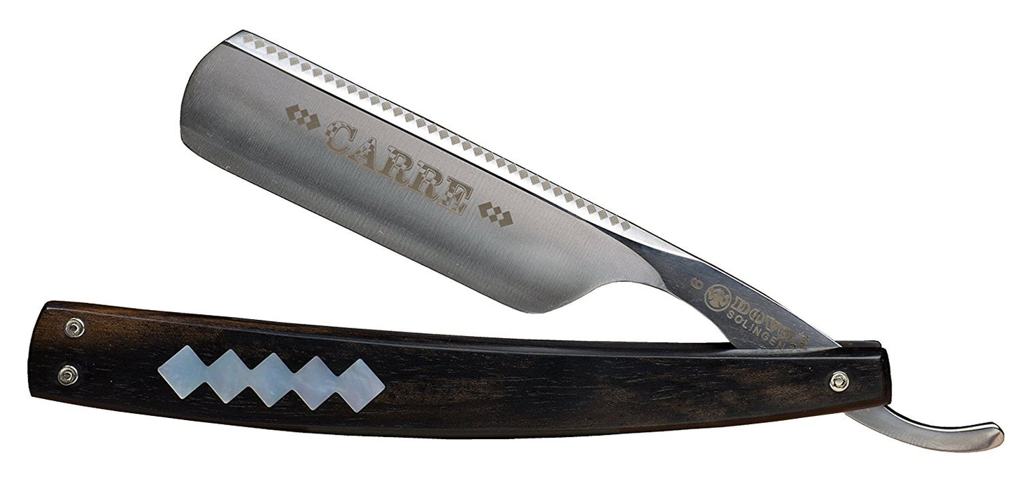 "Dovo ""Carre"" Straight Razor, Ebony Wood Handle, 6/8"""