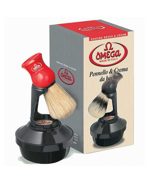 Omega Shaving Cream and Brush with Stand Kit