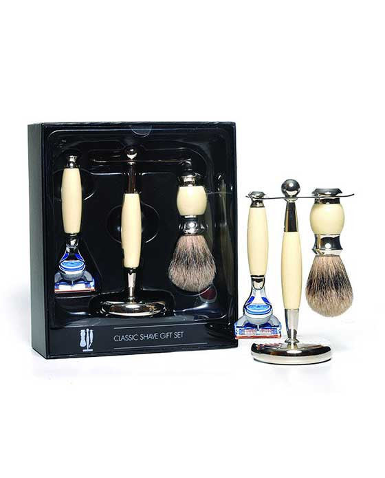 PureBadger Collection Cream Set, Faux Ivory Silvertip Shaving Brush, Fusion Razor & Stand
