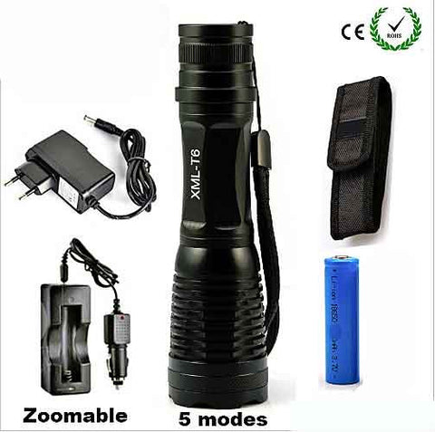 Best Rechargeable Flashlight. Complete Kit. CREE XML – T6 LED, 18650 Rechargeable Battery, Battery Charger with both A/C and D/C Adapters included. Plus More.