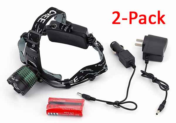 Best LED Headlamp. CREE XML-T6 LED, 18650 Batteries, Battery Charger and AC & DC Power Cables are included. Weather Resistant.  2 Pack!