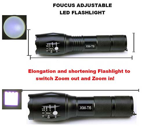 Best Tactical Flashlight for the Money. CREE XML-T6 LED. Zoomable Lens. 18650 Battery and Charger Included. AAA Battery Holder and Storage Box.