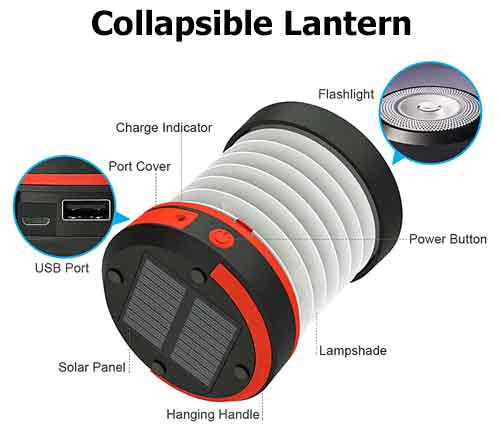 Collapsible Lantern with Built-In Flashlight. 2 Power Sources: Solar Powered and Rechargeable Battery. Built-In Power Bank for Cell Phone Charging.