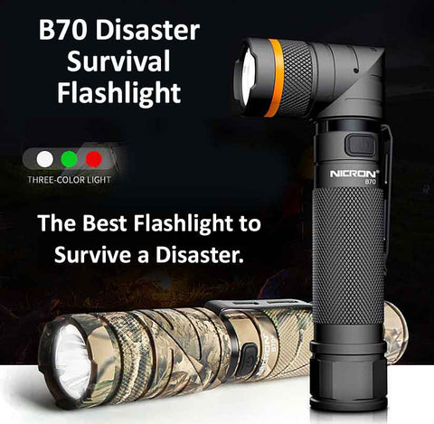 The B70 and B70+ Disaster Survival Flashlight: Twisting Head, 3-Colors of Light and Much More Makes this the #1 Flashlight for Disaster Survival.