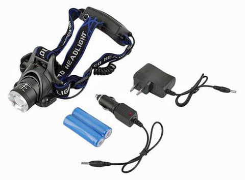 Tactical Headlamp Kit with T6 LED.  (2X) 18650 Rechargeable Batteries and Charger Chords for Both AC & DC Included.  A Complete Kit at a Very Affordable Price. As Low As $13.95 per Kit.