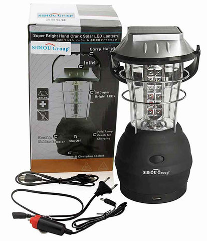 Hand Crank Lantern.  5-Charging Methods: Hand Crank, Solar, DC, AC and AA Battery.  USB Cell Phone Charger.  36-LED Lamp.  Power Indicator Light.