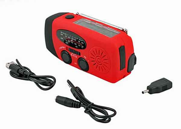 Best Hand Crank Radio with AM, FM and Weather Bands. Built In Flashlight. Built in Cell Phone Charger.  Includes USB Cable and DC Cord.
