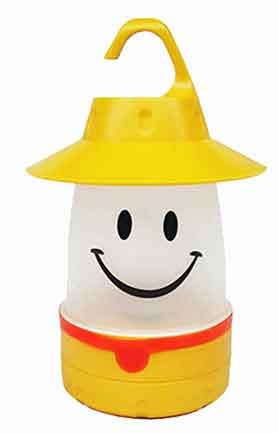 Kids Lantern.  Friendly Face Design. LED Light uses AA Batteries.  ABS Construction.  Removable Hanging Top Hat and Hook.